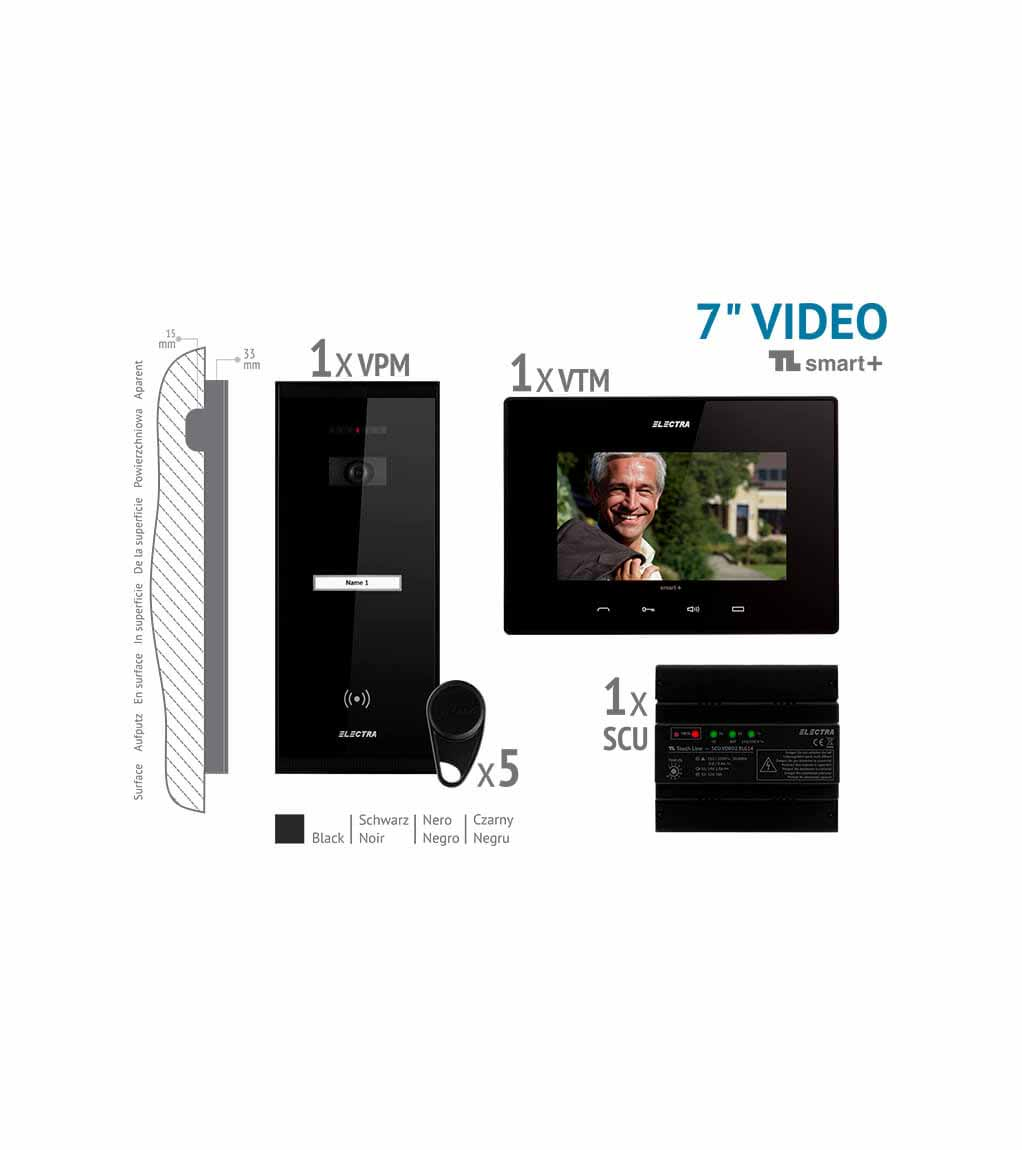 "SMART+ KIT VIDEO 7"" - 1 FAMILIE,  PANOU APARENT, NEGRU"